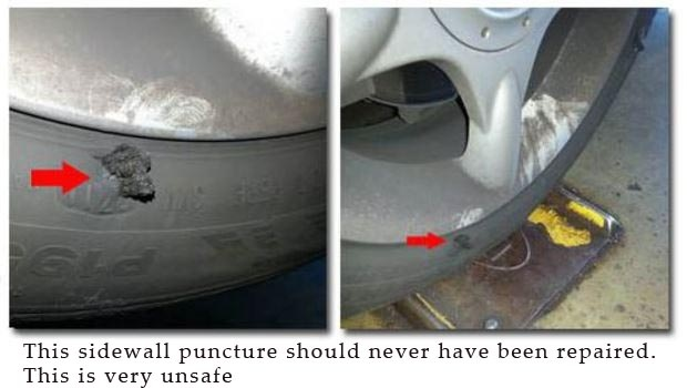Improperly repaired flat tire identified by British American Auto Care mechanic on duty-2.jpg