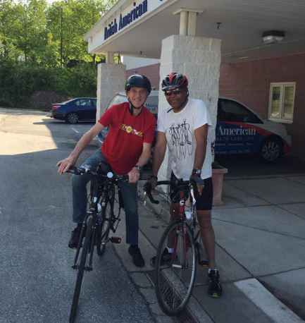 Brian England of BA Auto Care with Forest on Bike to Work Day